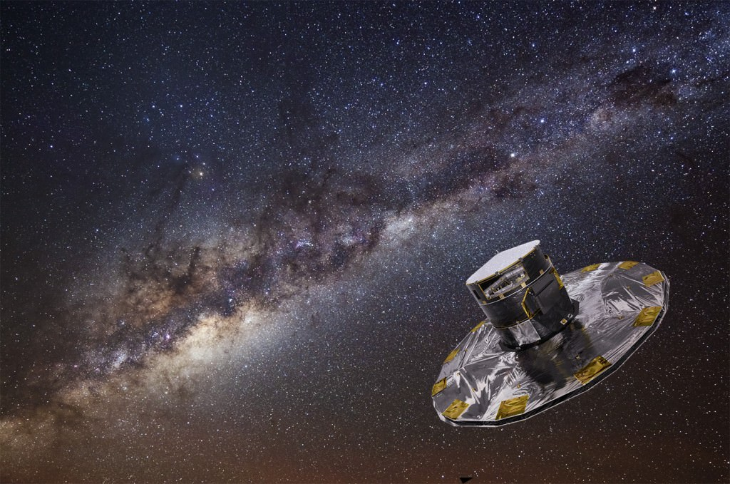 ESA's Gaia mission is currently on a five-year mission to map the stars in the Milky Way. Gaia has found evidence of a galactic collision that occurred between 300 million and 900 million years ago. Image Credit: ESA / ATG media lab; background: ESO / S. Brunier.
