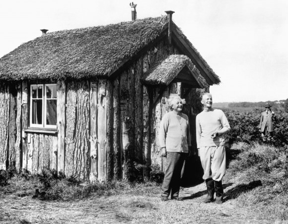 15 of 25 Albert Einstein: Einstein fled Nazi Germany in 1933 and went into hiding in England, taking up residence in a small hut in the Norfolk countryside. Credit: Bettmann/CORBIS