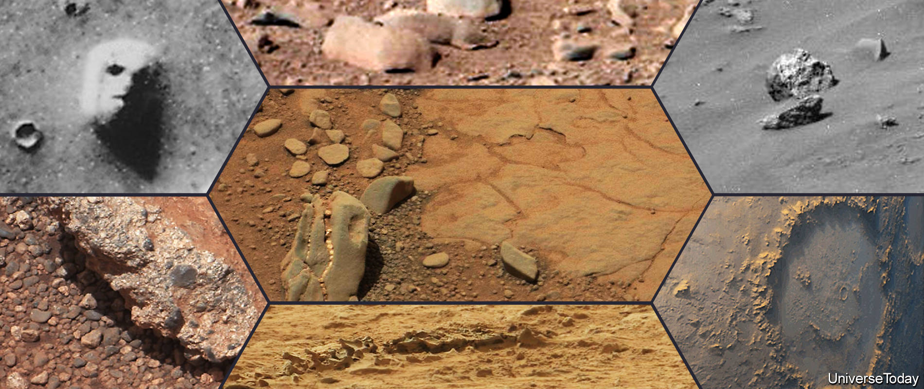 The dinosaur on Mars, the Face in Cydonia, the rat, the human skull, the Smiley face, the prehistoric vertebrae and the conglomerate rock. Something is amiss in this montage and shouldn't be included. (Photo Credits: NASA/JPL)