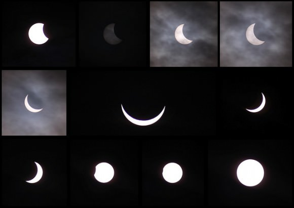 Partial phases of the solar eclipse on March 20, 2015 as seen from the United Kingdom. Credit and copyright: Sarah and Simon Fisher.