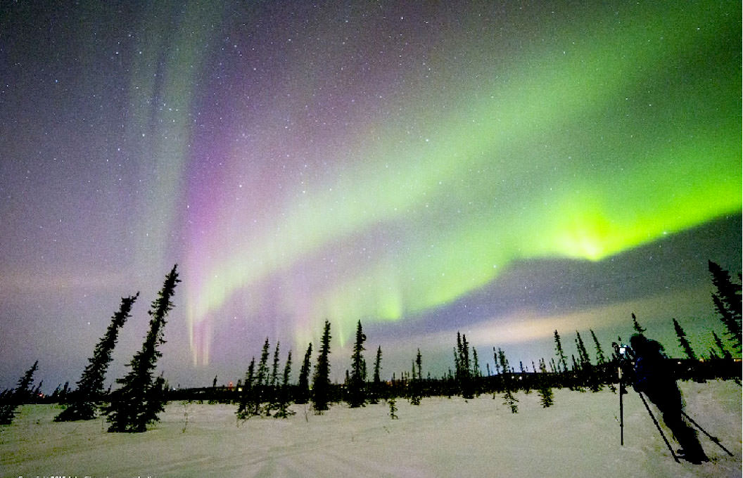 Aurora borealis in Fairbanks, AK. on Monday night March 16. Credit: John Chumack