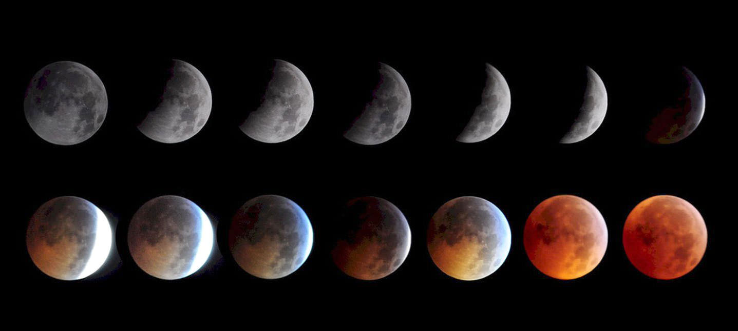 Colouring sheets of the lunar eclipse - The Phases Of A Total Lunar Eclipse Credit Keith Burns Nasa