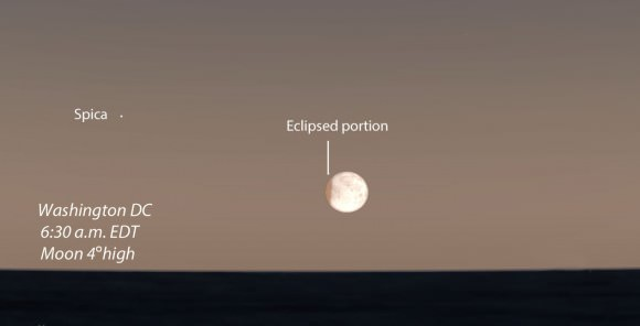 The Earth's shadow will take only a small bite out of the Moon before sunrise (6:47 a.m.) as seen from Washington D.C. Source: Stellarium