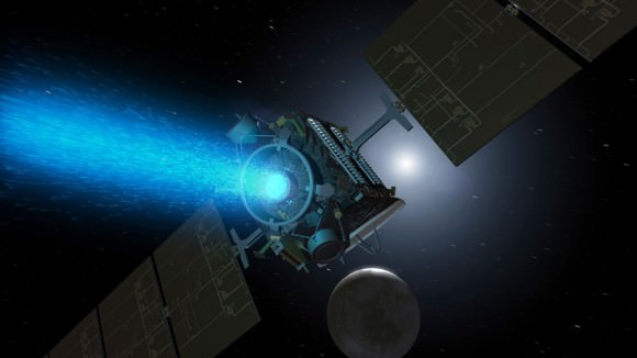 Artist's concept of Dawn above Ceres around the time it was captured into orbit by the dwarf planet in early March. Since its arrival, the spacecraft turned around to point the blue glow of its ion engine in the opposite direction. Image credit: NASA/JPL