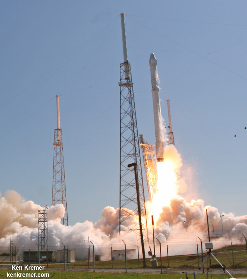 SpaceX Falcon 9 and Dragon blastoff from Space Launch Complex 40 at Cape Canaveral Air Force Station in Florida on April 14, 2015 at 4:10 p.m. EDT  on the CRS-6 mission to the International Space Station. Credit: Ken Kremer/kenkremer.com