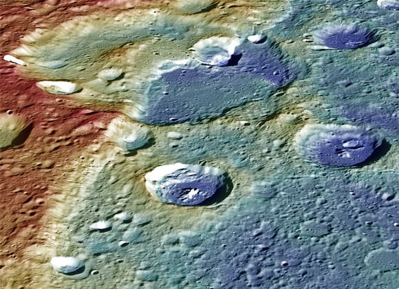 Color-coded view of Carnegie Rupes (ridge) with low elevations in blue and high in red. The ridge formed as the Mercury's interior cooled, resulting in the overall shrinking of the planet. Parts of the landscape lapped over other parts as the planet shrunk. Credit: NASA/Johns Hopkins University Applied Physics Laboratory/Carnegie Institution of Washington