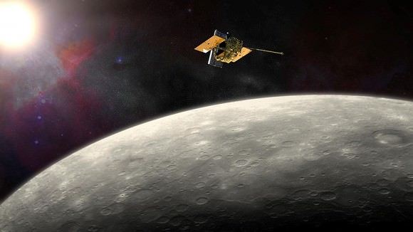 Farewell MESSENGER! Artist view of the spacecraft orbiting the innermost planet Mercury. Credit: NASA