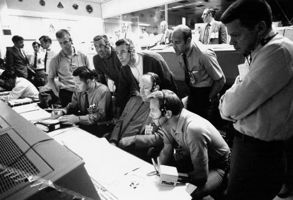 Apollo astronauts at Mission Control during Apollo 13. Credit: NASA.