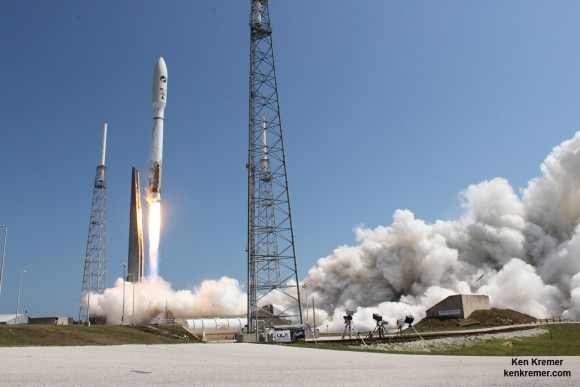 Blastoff of the X-37B spaceplane on United Launch Alliance (ULA) Atlas V rocket with the OTV-4 AFSPC-5 satellite for the U.S. Air Force at 11:05 a.m. EDT, May 20, 2015 from Space Launch Complex-41. Credit: Ken Kremer/kenkremer.com