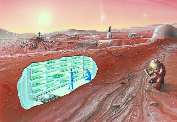 Artist impression of a Mars settlement with cutaway view. Credit: NASA Ames Research Center