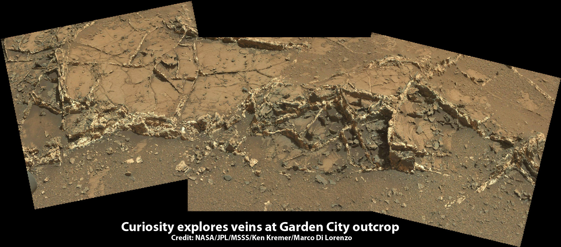 "Curiosity investigates a beautiful outcrop of scientifically enticing dark and light mineral veins at ""Garden City"" outcrop at the base of Mount Sharp at current location on Mars.   This  photo mosaic was stitched  from Mastcam color camera raw images. Credit:  NASA/JPL-Caltech/MSSS/Ken Kremer/kenkremer.com/Marco Di Lorenzo"