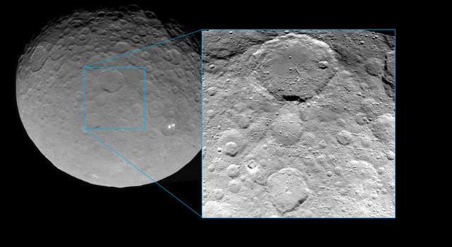 This view of Ceres was taken by Dawn spacecraft on May 23 and shows finer detail becoming visible on the dwarf planet. The spacecraft snapped the image at a distance of 3,200 miles (5,100 kilometers) with a resolution of 1,600 feet (480 meters) per pixel. Credit: NASA/JPL-Caltech/UCLA/MPS/DLR/IDA