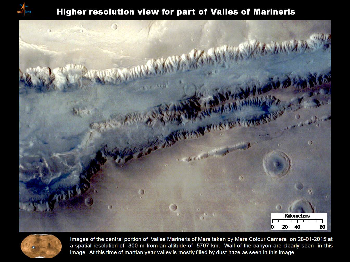 Higher resolution view of a portion of Valles Marineris canyon from India's MOM Mars Mission.   Credit: ISRO