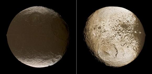 The two sides of Iapetus. Credit: NASA/JPL