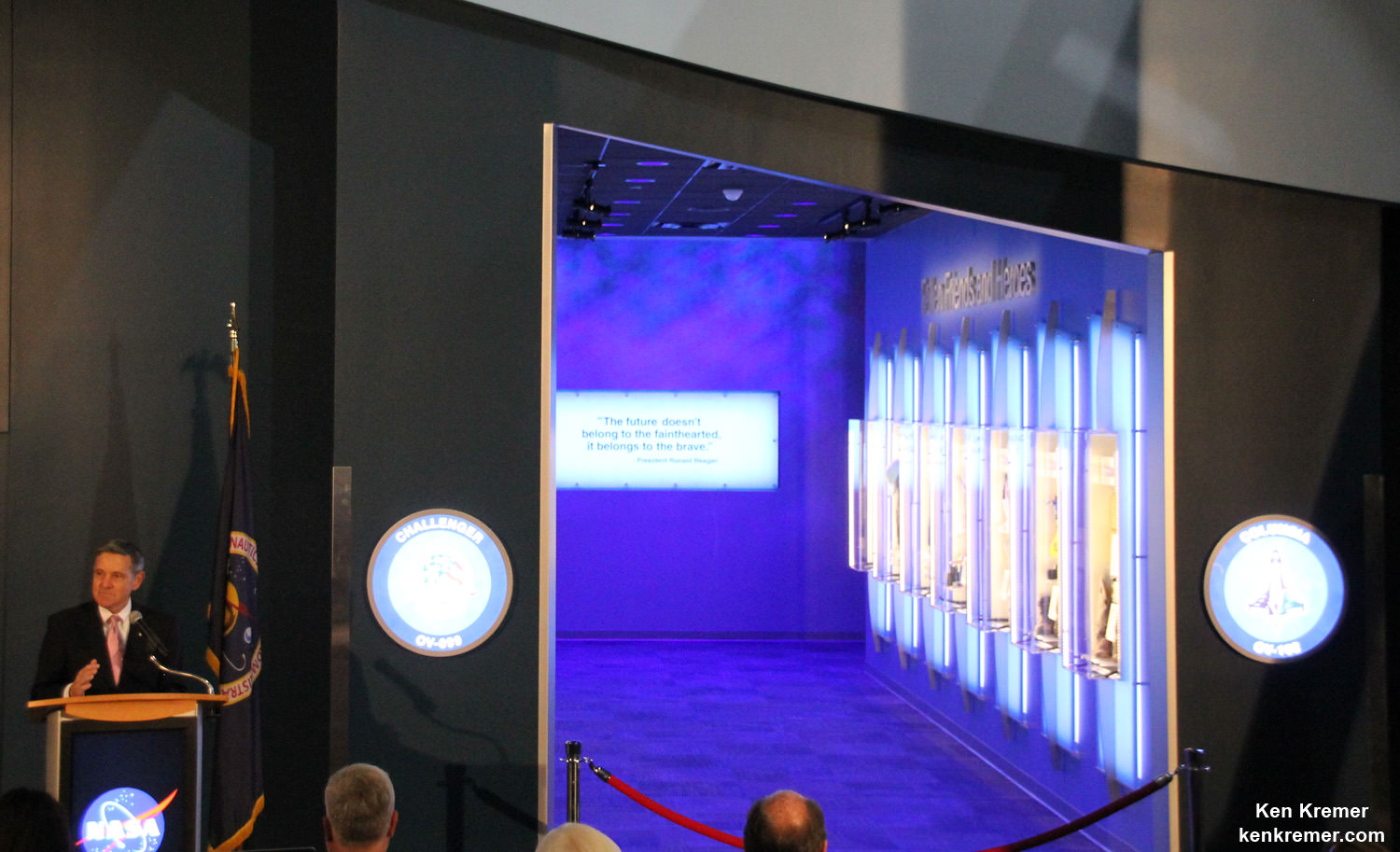 "Kennedy Space Center Director Bob Cabana officially opens the ""Forever Remembered"" memorial tribute to the fallen crews of the Columbia and Challenger Space Shuttle orbiters in the Space Shuttle Atlantis exhibit at the Kennedy Space Center Visitor Complex in Florida on June 27, 2015.  Credit: Ken Kremer/kenkremer.com"