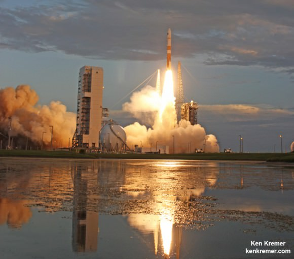A United Launch Alliance (ULA) Delta IV rocket carrying the WGS-7 mission for the U.S. Air Force launches from Cape Canaveral Air Force Station, Fl, on July 23, 2015. Credit: Ken Kremer/kenkremer.com