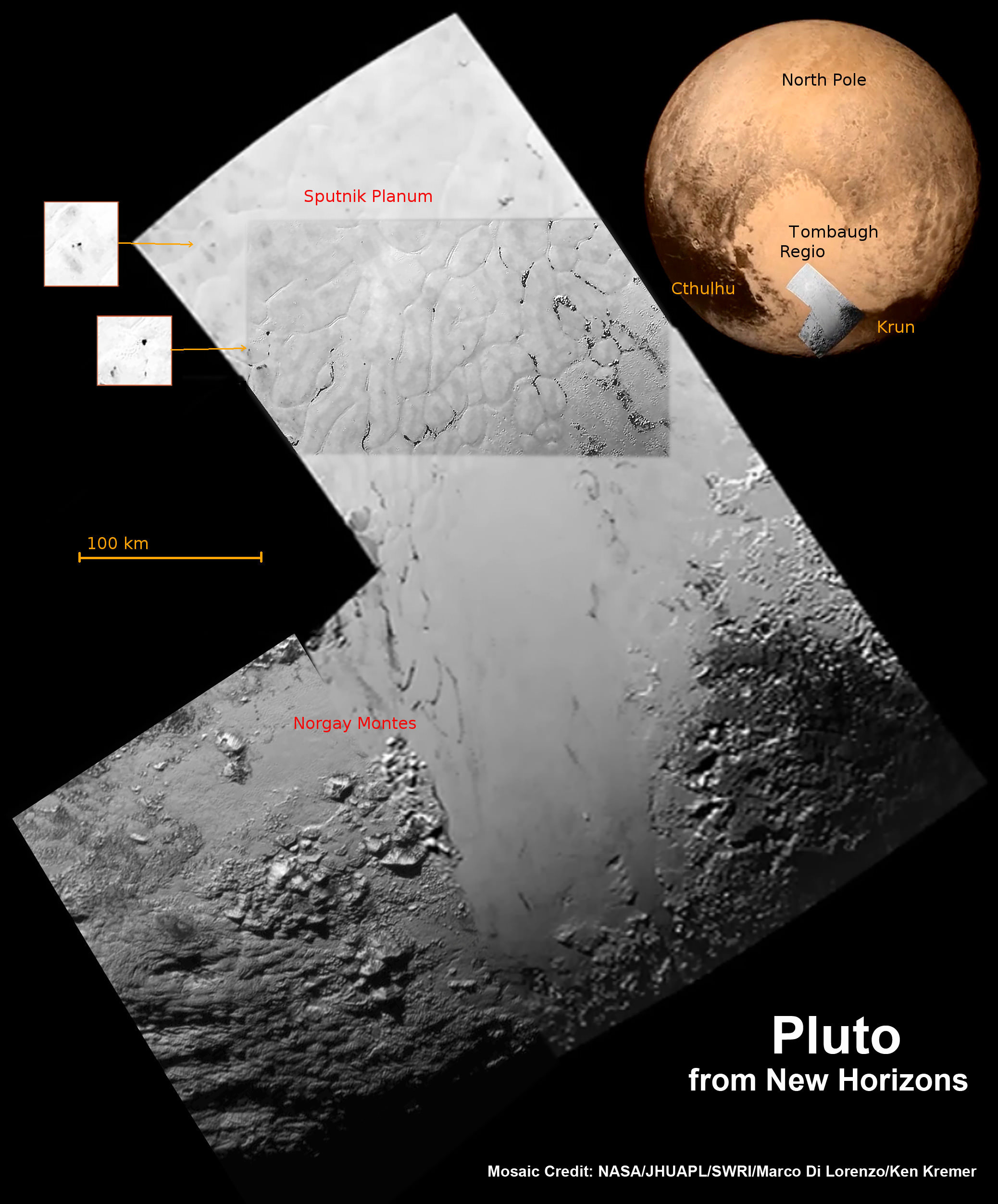 Hi Res mosaic of 'Tombaugh Regio' shows the heart-shaped region on Pluto and focuses on icy mountain ranges of 'Norgay Montes' and ice plains of 'Sputnik Planum.' The new mosaic combines highest resolution imagery captured by NASA's New Horizons LORRI imager during history making closest approach flyby on July 14, 2015, draped over a wider, lower resolution view of Tombaugh Regio.   Inset at left shows possible wind streaks.  Inset at right shows global view of Pluto with location of huge heart-shaped region in context.  Annotated with place names.  Credit: NASA/JHUAPL/SWRI/ Marco Di Lorenzo/Ken Kremer/kenkremer.com