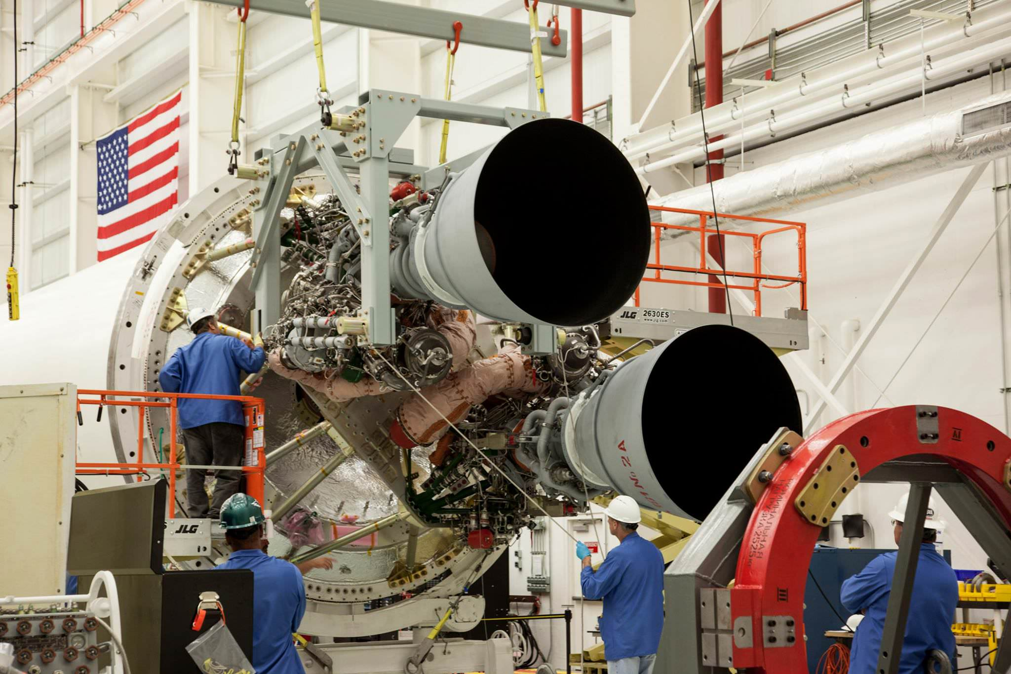 Two RD-181 integrated with the Orbital ATK Antares first stage air frame at the Wallops Island, Virginia Horizontal Integration Facility (HIF). Return to flight launch is expected sometime during Spring 2016.  Credit: NASA/ Terry Zaperach