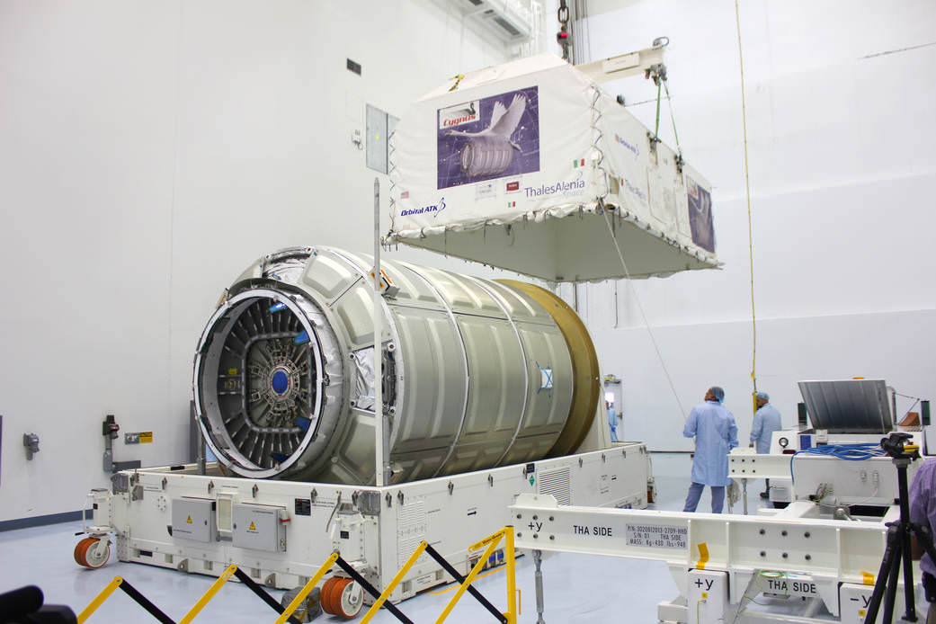 The Cygnus Pressurized Cargo Module for the OA-4 mission arrived at the Kennedy Space Center during August 2015 for processing in preparation for the upcoming CRS space station resupply mission to be launched from Florida in early December 2015. Credit: Orbital ATK