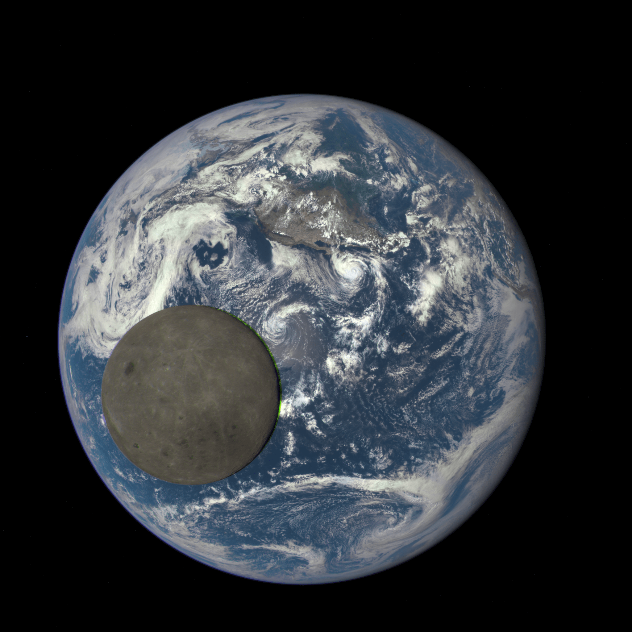 This image shows images of the far side of the moon, illuminated by the sun, as it crosses between the DISCOVR spacecraft's Earth Polychromatic Imaging Camera (EPIC) camera and telescope, and the Earth - one million miles away.  Credits: NASA/NOAA