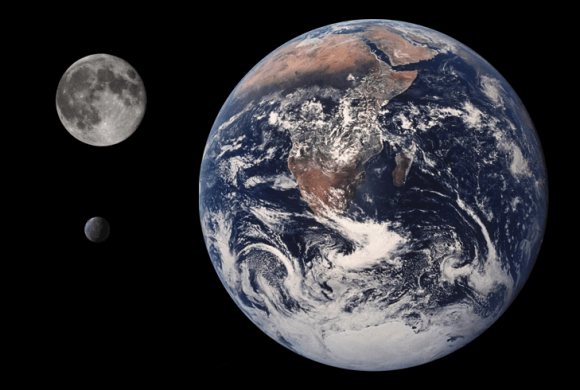 Orcus compared to Earth and the Moon. Credit: Wikipedia Commons