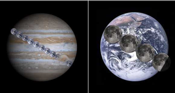Jupiter/Earth comparison. Credit: NASA/SDO/Goddard/Tdadamemd