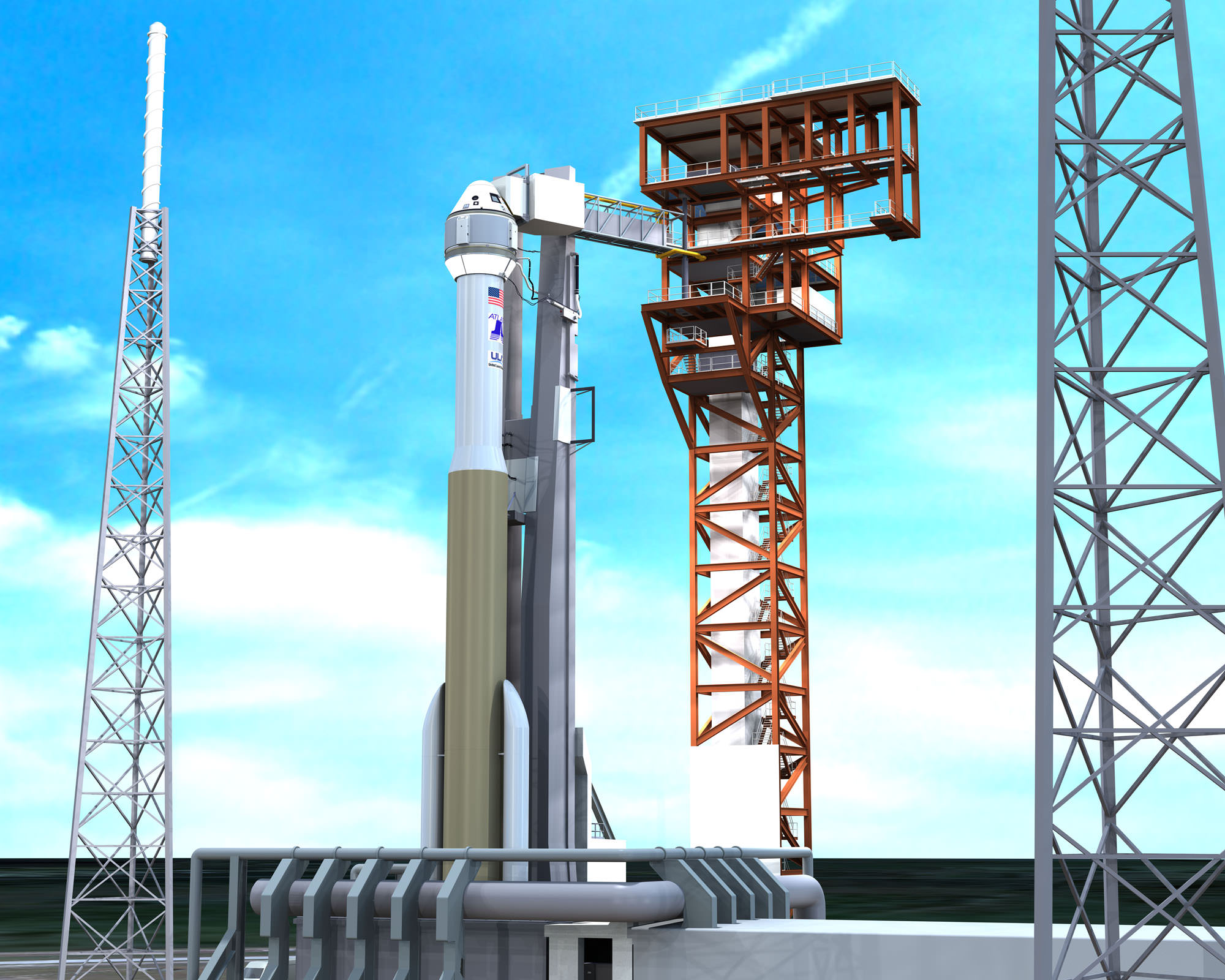 Artist's concept of Boeing's CST-100 space taxi atop a human rated ULA Atlas-V rocket showing new crew access tower and arm at Space Launch Complex 41, Cape Canaveral Air Force Station, Fl. Credit: ULA/Boeing