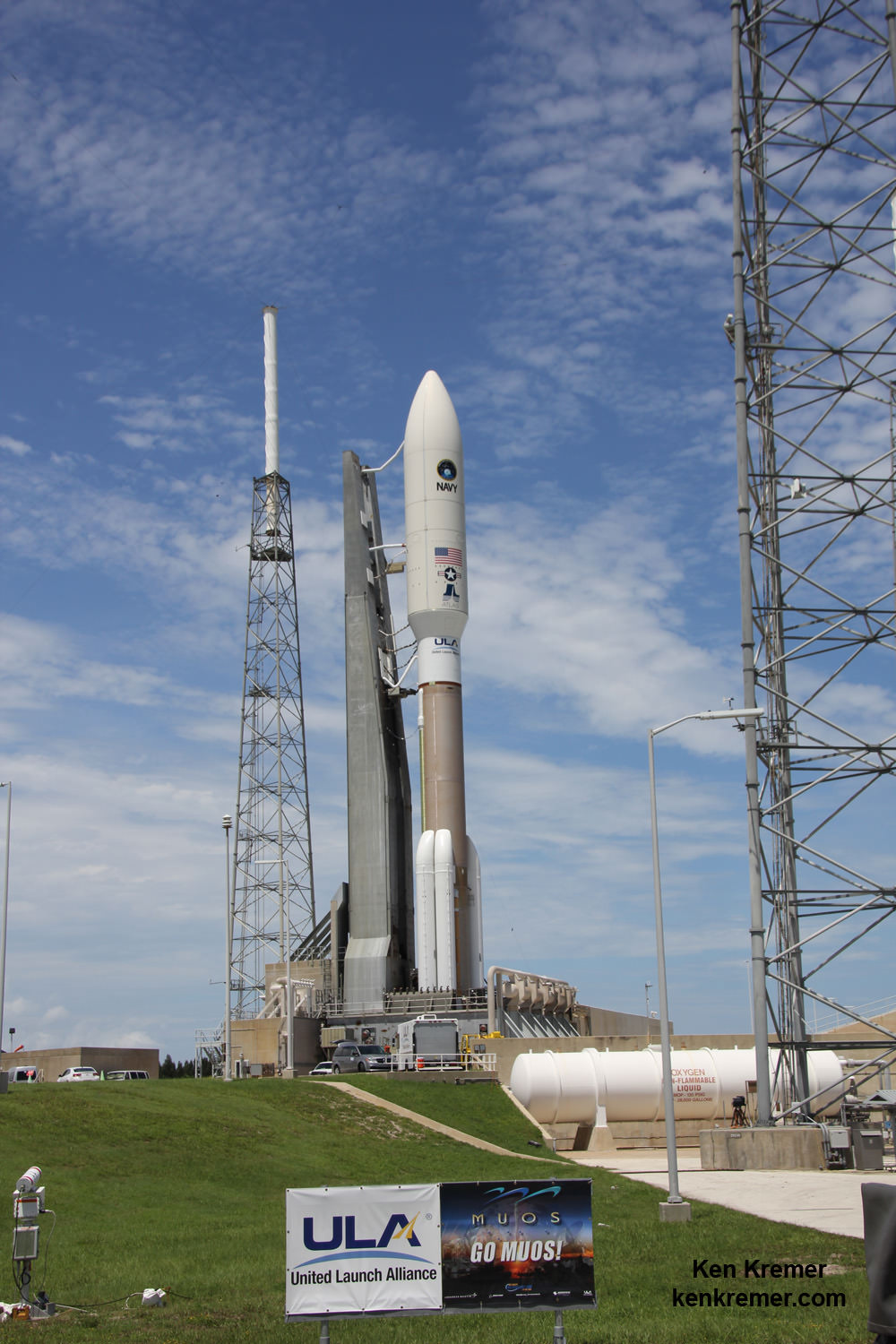 MUOS-4 US Navy communications satellite and Atlas V rocket at pad 41 at Cape Canaveral Air Force Station, FL for launch on Sept. 2, 2015 at 5:59 a.m. EDT. Credit: Ken Kremer/kenkremer.com