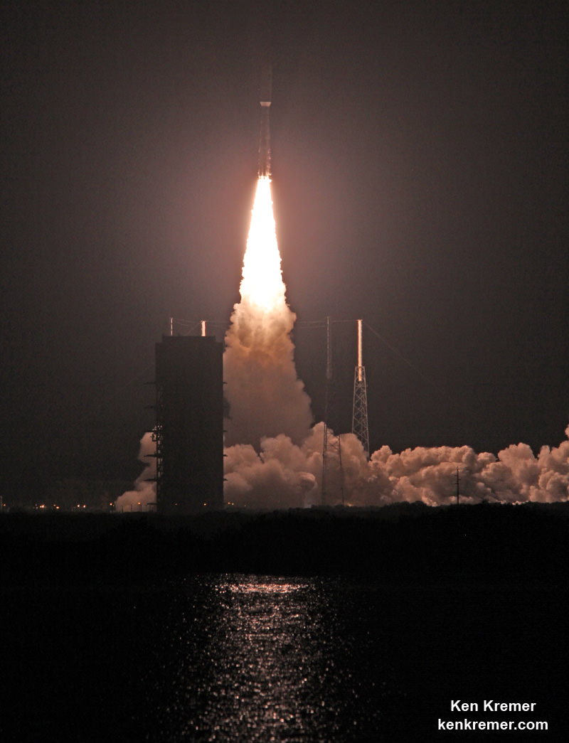 Blastoff of MUOS-4 US Navy communications satellite on United Launch Alliance Atlas V rocket from pad 41 at Cape Canaveral Air Force Station, FL on Sept. 2, 2015. Credit: Ken Kremer/kenkremer.com