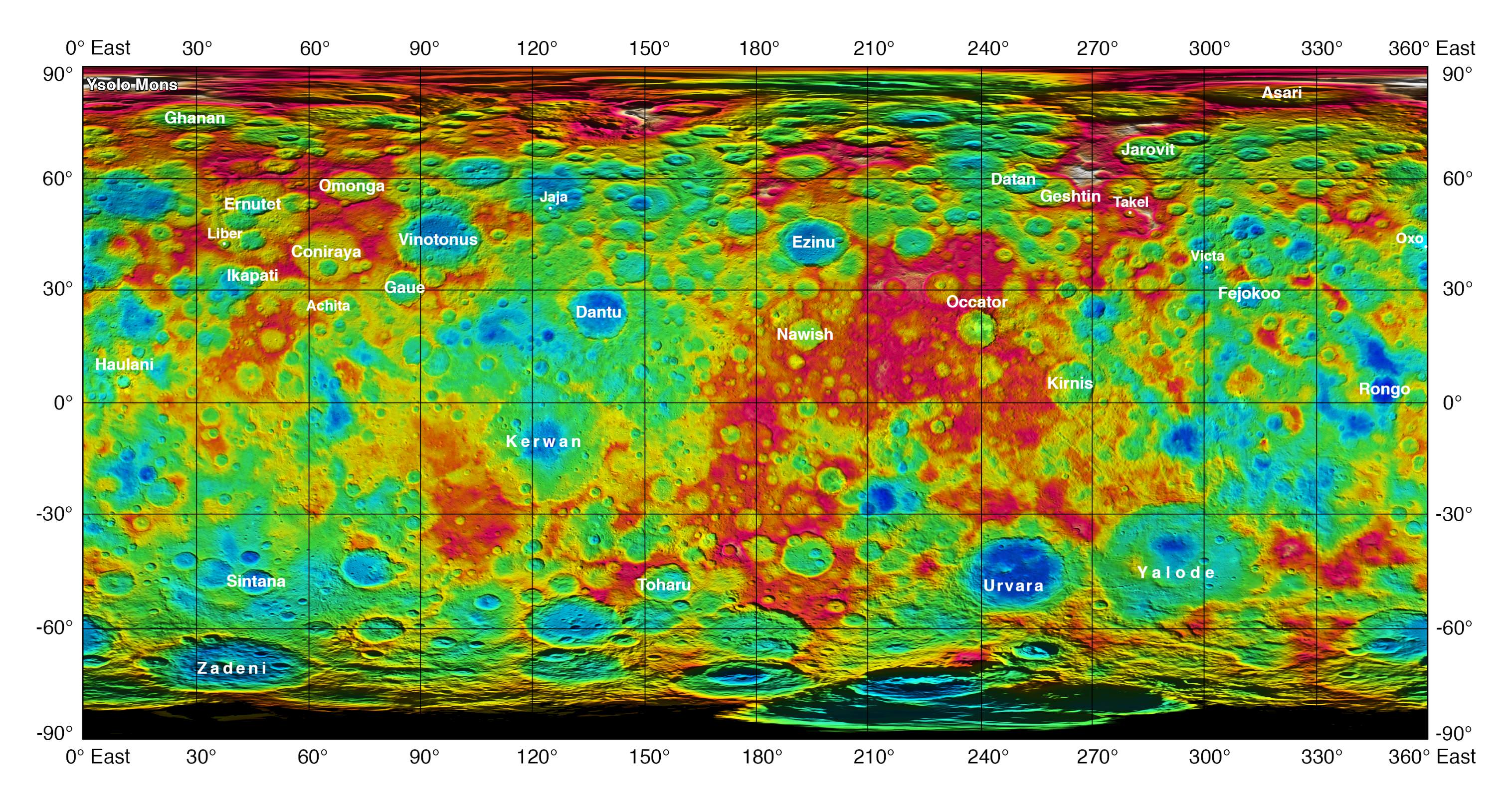 This color-coded map from NASA's Dawn shows the highs and lows of topography on the surface of dwarf planet Ceres. It is labeled with names of features approved by the International Astronomical Union. The color scale extends about 5 miles (7.5 kilometers) below the reference surface in indigo to 5 miles (7.5 kilometers) above the reference surface in white.  Credits: NASA/JPL-Caltech/UCLA/MPS/DLR/IDA