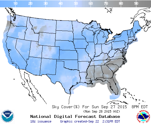 Early cloud cover prospects for Sunday night over the contiguous United States. Image credit: The National Weather Service