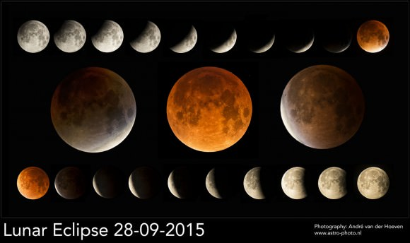 Another nice montage displaying all the partial phases, early, mid and late totality. Credit: Andre van der Hoeven