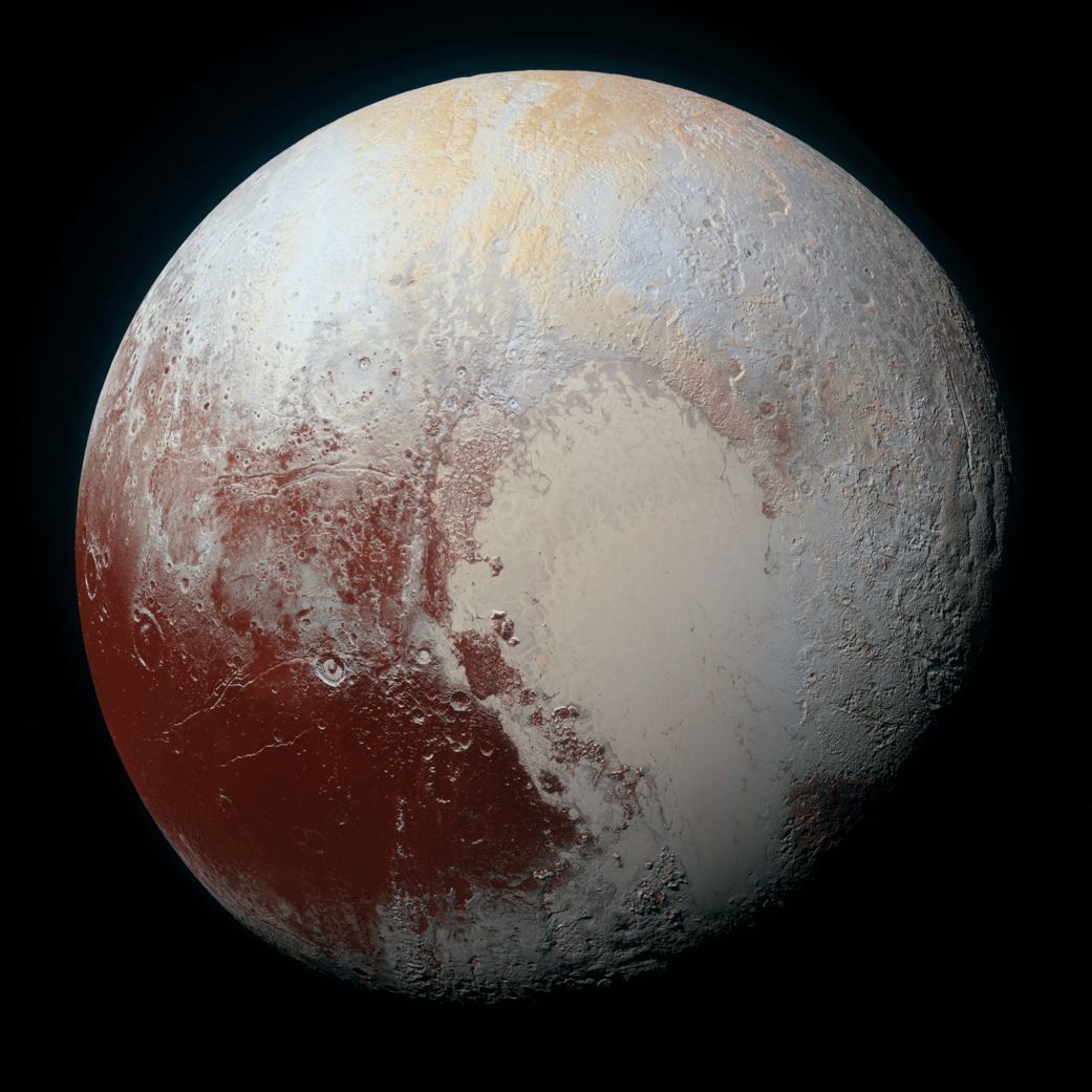 NASA's New Horizons spacecraft captured this high-resolution enhanced color view of Pluto on July 14, 2015. The image combines blue, red and infrared images taken by the Ralph/Multispectral Visual Imaging Camera (MVIC). Pluto's surface sports a remarkable range of subtle colors, enhanced in this view to a rainbow of pale blues, yellows, oranges, and deep reds. Many landforms have their own distinct colors, telling a complex geological and climatological story that scientists have only just begun to decode. The image resolves details and colors on scales as small as 0.8 miles (1.3 kilometers).  The viewer is encouraged to zoom in on the image on a larger screen to fully appreciate the complexity of Pluto's surface features.   Credit: NASA/JHUAPL/SwRI