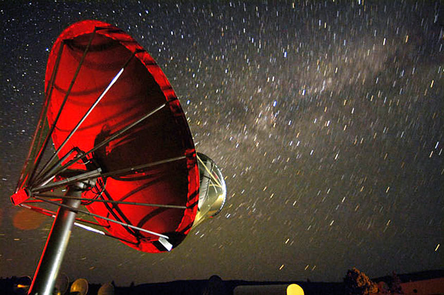 One of the 42 dishes in the Allen Telescope Array that searches for signals from space. Credit: Seth Shostak / SETI Institute.