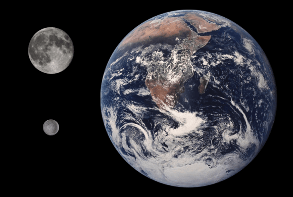 Size comparison between Earth, the Moon, and Ariel. Credit: NASA/JPL/USGS/Tom Reding