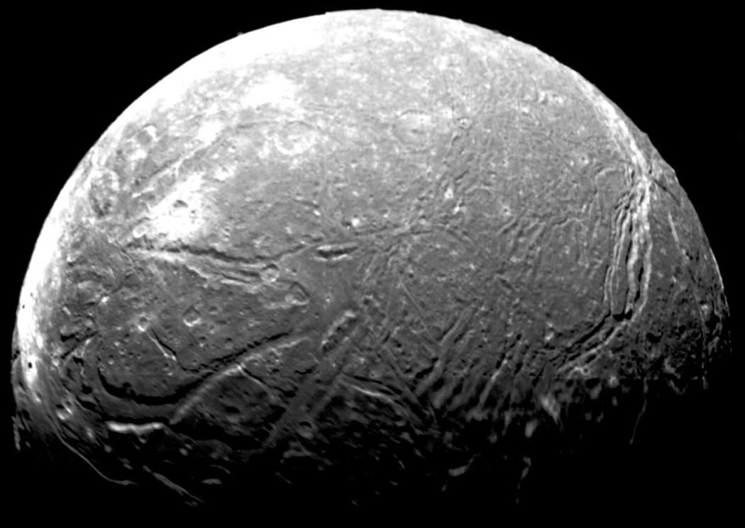 Mosaic of the four highest-resolution images of Ariel taken by the Voyager 2 space probe during its 1986 flyby of Uranus. Credit: NASA/JPL