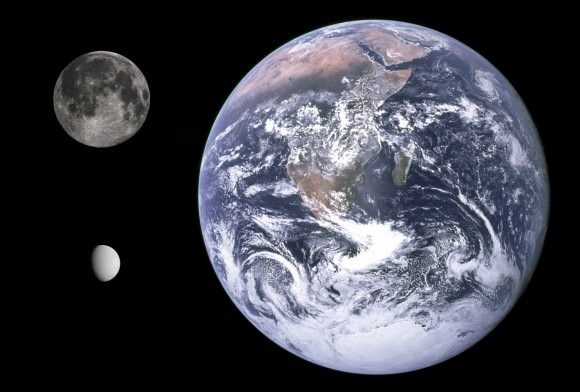Size comparison between Earth, the Moon, and Saturn's moon Dione. Credit: NASA/JPL/Space Science Institute