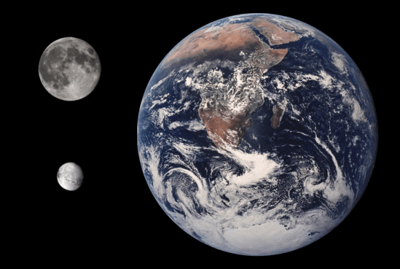 Size comparison of Earth, the Moon, and Iapetus. Credit: NASA/JPL/Tom Reding
