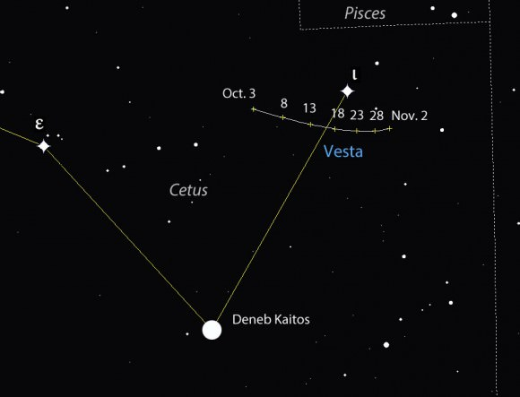 Once you've arrived at Deneb Kaitos, locate Iota Ceti, 10 degrees to the northwest. The star makes finding Vesta easy in binoculars this month. Source: Chris Marriott's SkyMap software