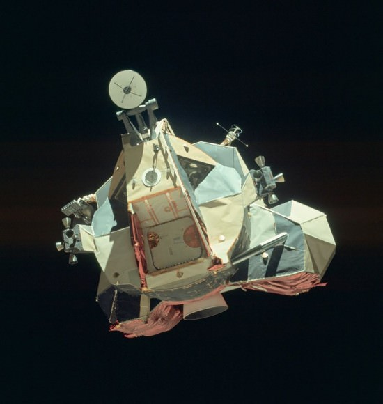 "The Apollo 17 Lunar Module ""Challenger"" ascent stage after returning from the lunar surface, photographed from the Command Module ""America"" prior to rendezvous. Credit: NASA/KSC."