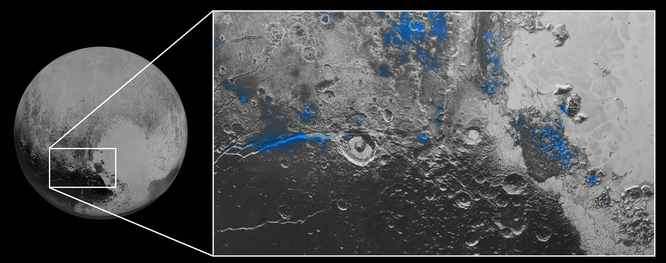 Water Ice on Pluto: Regions with exposed water ice are highlighted in blue in this composite image from New Horizons' Ralph instrument, combining visible imagery from the Multispectral Visible Imaging Camera (MVIC) with infrared spectroscopy from the Linear Etalon Imaging Spectral Array (LEISA). The strongest signatures of water ice occur along Virgil Fossa, just west of Elliot crater on the left side of the inset image, and also in Viking Terra near the top of the frame. A major outcrop also occurs in Baré Montes towards the right of the image, along with numerous much smaller outcrops, mostly associated with impact craters and valleys between mountains. The scene is approximately 280 miles (450 kilometers) across. Note that all surface feature names are informal.  Credits: NASA/JHUAPL/SwRI