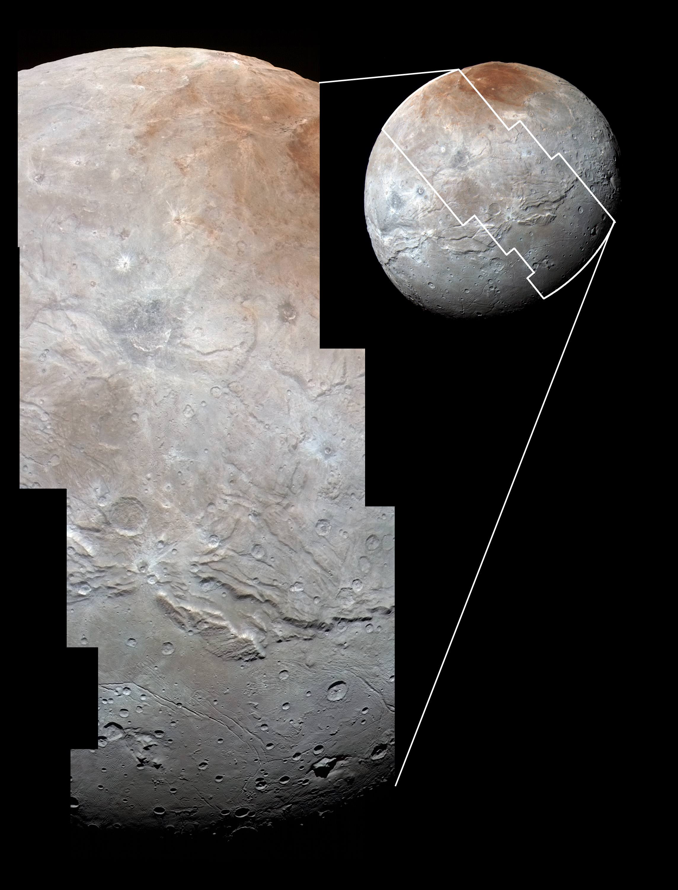 High-resolution images of Charon were taken by the Long Range Reconnaissance Imager on NASA's New Horizons spacecraft, shortly before closest approach on July 14, 2015, and overlaid with enhanced color from the Ralph/Multispectral Visual Imaging Camera (MVIC). Charon's cratered uplands at the top are broken by series of canyons, and replaced on the bottom by the rolling plains of the informally named Vulcan Planum. The scene covers Charon's width of 754 miles (1,214 kilometers) and resolves details as small as 0.5 miles (0.8 kilometers).  Credits: NASA/JHUAPL/SwRI