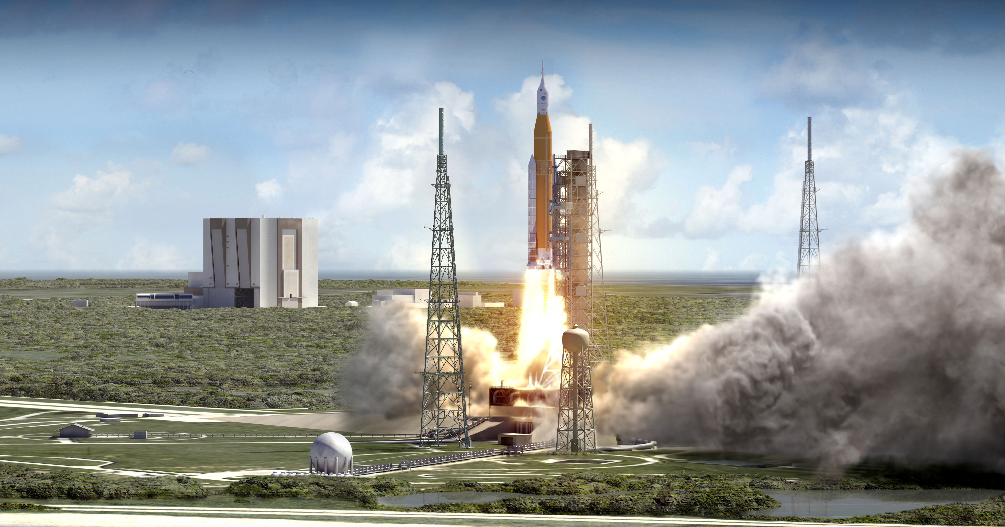 NASA's Space Launch System (SLS) blasts off from launch pad 39B at the Kennedy Space Center in this artist rendering showing a view of the liftoff of the Block 1 70-metric-ton (77-ton) crew vehicle configuration.   Credit: NASA/MSFC