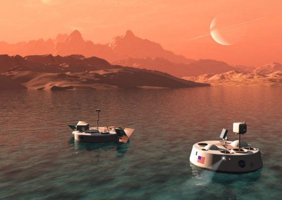 On the left is TALISE (Titan Lake In-situ Sampling Propelled Explorer), the ESA proposal. This would have it's own propulsion, in the form of paddlewheels. Credit: bisbos.com