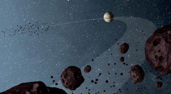 Artist's concept of Trojan asteroids, small bodies that dominate our solar system. Credit: NASA