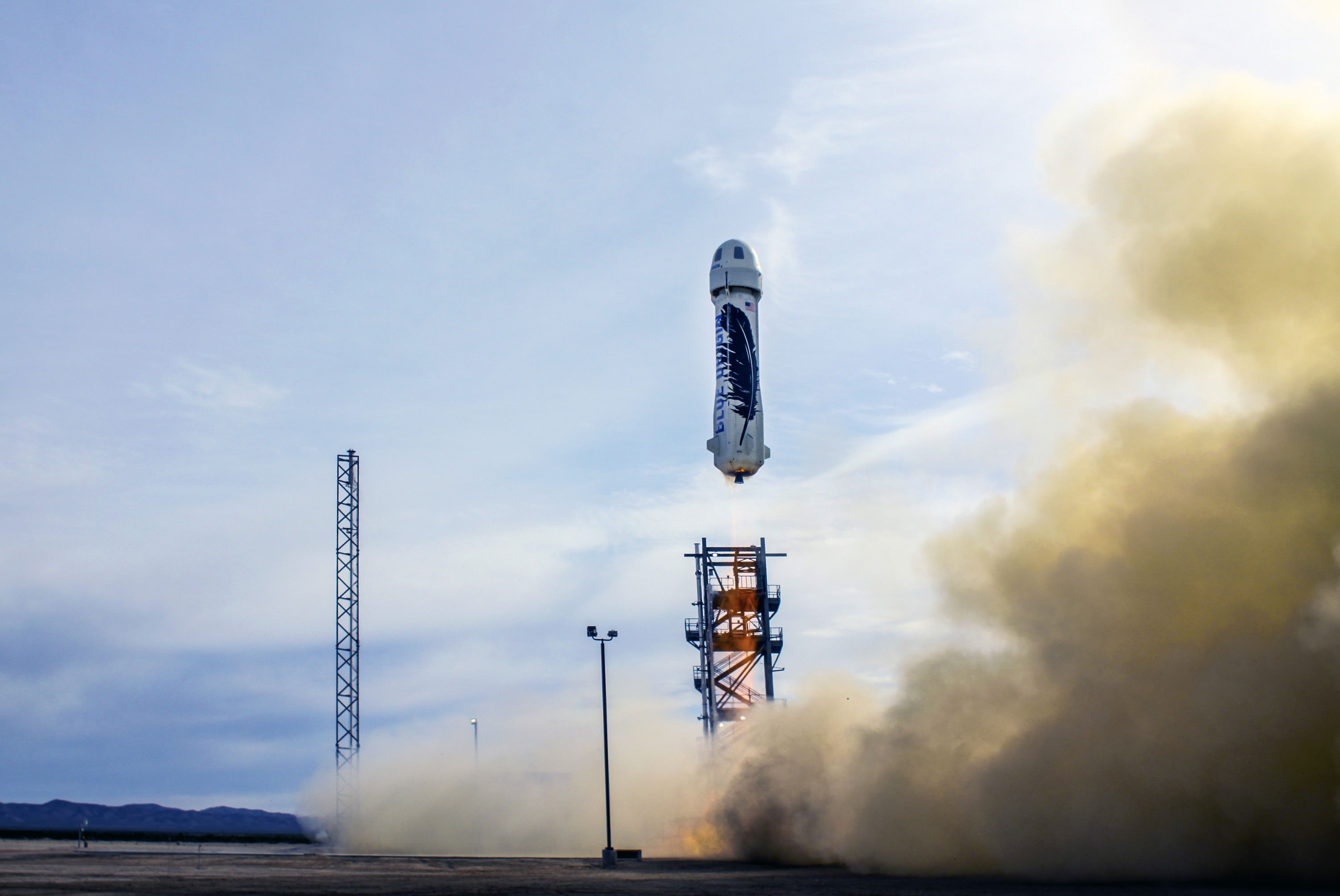 The launch of the New Shepard rocket from Blue Origin's launch site in Texas on Nov. 23, 2015. Credit: Blue Origin.