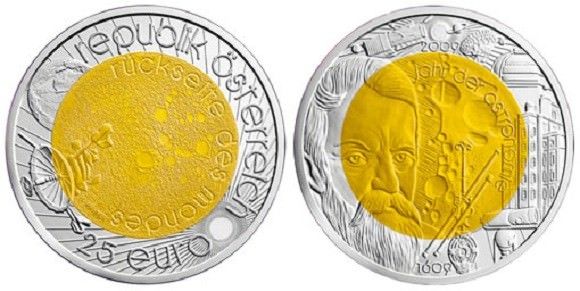 The 25 Euro coin minted for the 2009 International Year of Astronomy, showing Galileo on the obverse. Credit: coinnews.net