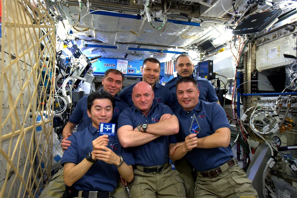 6 person ISS Expedition 45 Crew celebrates 15 Years of operation with humans on 2 Nov 2015.  Credit: NASA