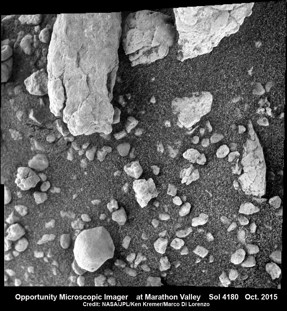 4 image mosaic of microscopic images from Opportunity rover at pebbles at  Marathon Valley. This 2 x 2 microscope imager (MI) mosaic was assembled from images taken on Sol 4180 (Oct. 27, 2015). Credit: NASA/JPL/Cornell/Ken Kremer/kenkremer.com/Marco Di Lorenzo