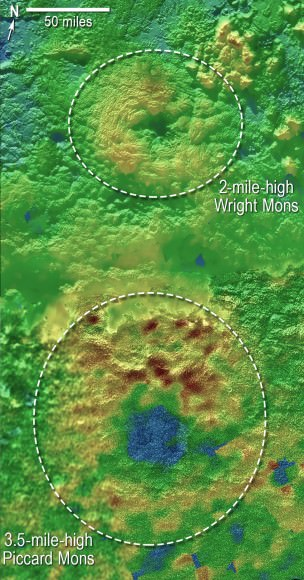 Scientists using New Horizons images of Pluto's surface to make 3-D topographic maps have discovered that two of Pluto's mountains, informally named Wright Mons and Piccard Mons, could possibly be ice volcanoes. The color is shown to depict changes in elevation, with blue indicating lower terrain and brown showing higher elevation; green terrains are at intermediate heights.  Credit: NASA/Johns Hopkins University Applied Physics Laboratory/Southwest Research Institute